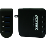 FTC-40W4 4 Ports 40 watts Travel Charger with Free 1 meter Micro USB Cable, Fast Charge FTC-40W Black